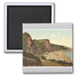 Babbacombe Beach, Torquay, England rare Photochrom 2 Inch Square Magnet