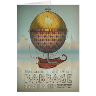 Babbage by Airship Steampunk Vintage Travel Card
