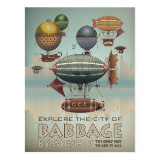 Babbage by Airship Vintage Steampunk Travel Postcard