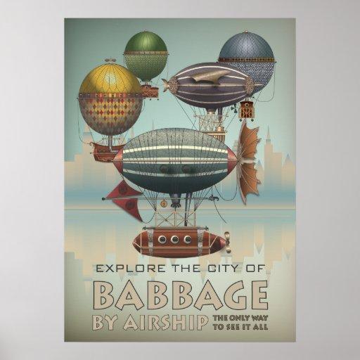 Babbage por viaje del vintage de Steampunk del dir Poster