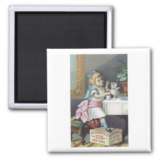 Babbits Girl with Cat 2 Inch Square Magnet