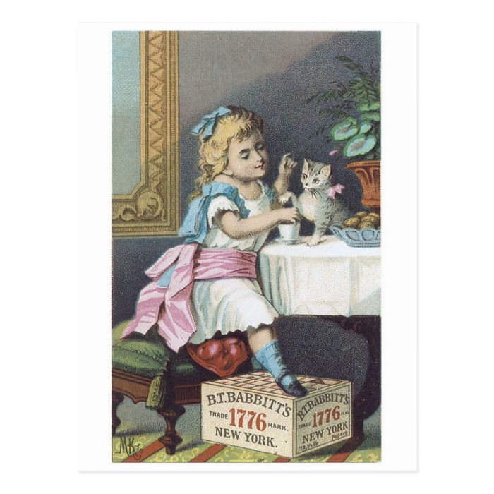 Babbits Girl with Cat Postcard