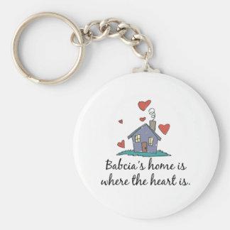 Babcia' el hogar de s es donde está el corazó llavero personalizado