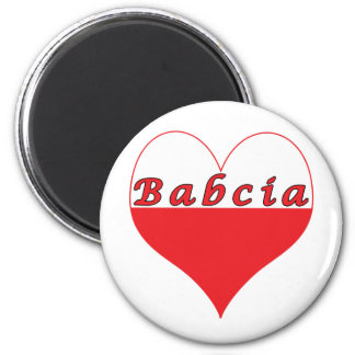 Babcia Polish Heart 2 Inch Round Magnet