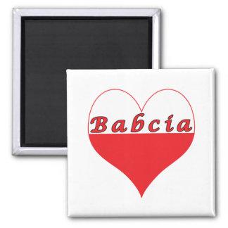 Babcia Polish Heart 2 Inch Square Magnet