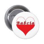 Babcia Polish Heart Pinback Buttons