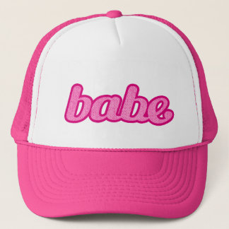 """""""babe"""" denim hot pink and white hat"""