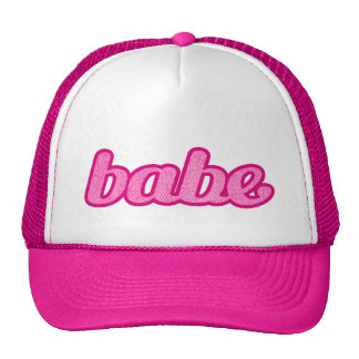 """babe"" denim hot pink and white hat"