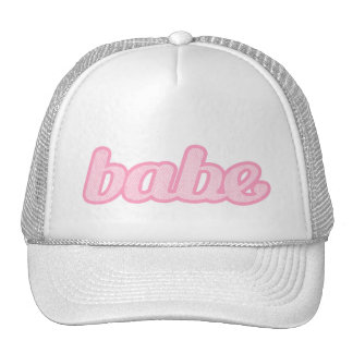 """babe"" denim pale pink and white hat"