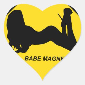 """Babe Magnet"" Heart Sticker"