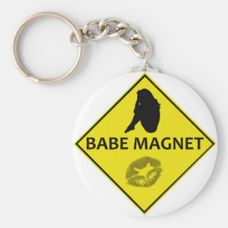Babe Magnet Yellow Road Sign Keychain