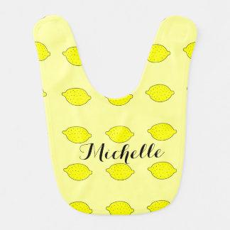 Babero amarillo del bebé del limón personalizado