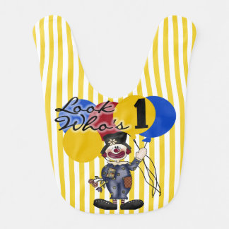 Babero amarillo del cumpleaños del payaso de circo
