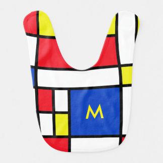 Babero amarillo rojo del bebé azul de Mondrian