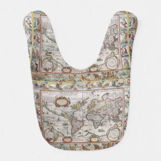 Babero antiguo del bebé del mapa del mundo