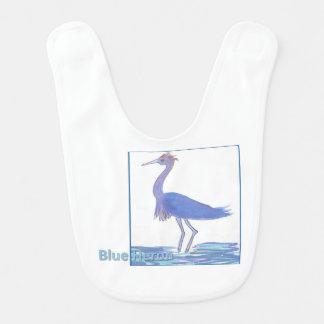 Babero azul de la garza