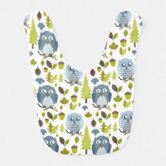 Babero azul del bebé de los búhos de Chevron
