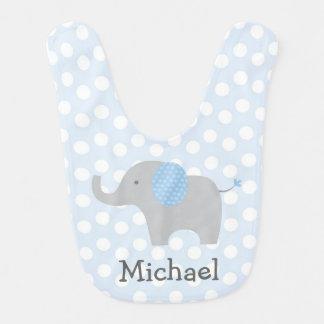 Babero azul del bebé del elefante