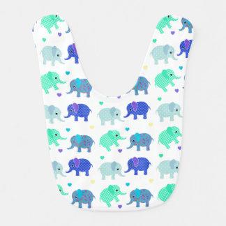 Babero colorido lindo del bebé de los elefantes