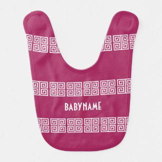 Babero de encargo del bebé del modelo griego