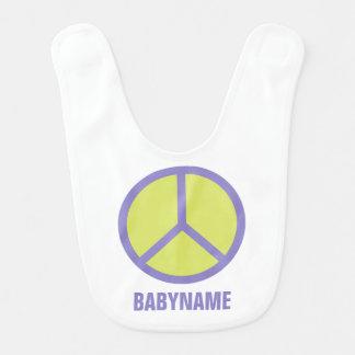 Babero de encargo del bebé del signo de la paz