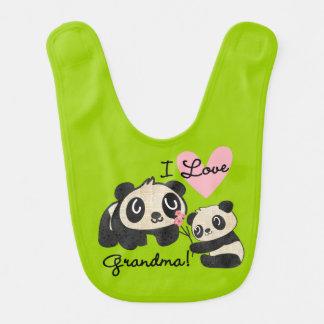 Babero de la abuela del amor de las pandas I