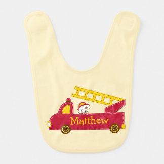 Babero del bebé del coche de bomberos