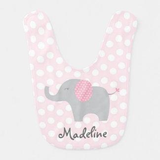 Babero del bebé del elefante rosado