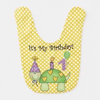 Babero del cumpleaños de la tortuga de los lunares