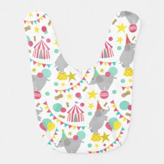 Babero femenino del bebé de los elefantes del circ