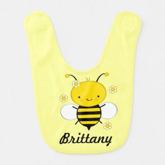 Babero infantil personalizado abeja del bebé de la
