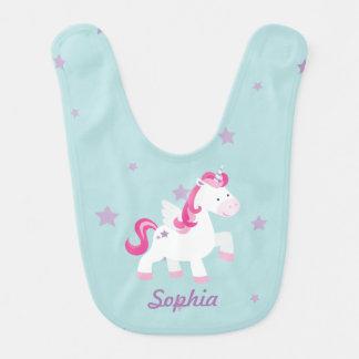 Babero mágico personalizado rosa lindo del bebé