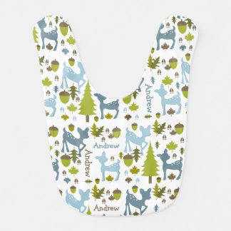 Babero personalizado ciervos azules del bebé