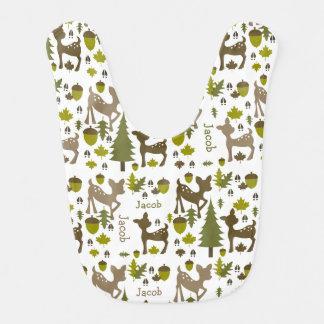 Babero personalizado ciervos del bebé del bebé