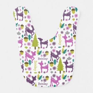 Babero personalizado ciervos púrpuras del bebé