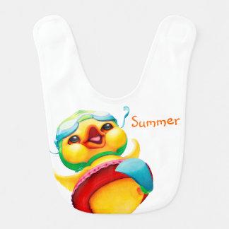 Babero personalizado pato amarillo feliz del bebé