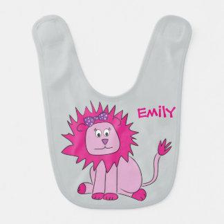 Babero rosado del león - personalizable