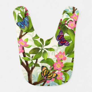 Babero tropical colorido del bebé de las mariposas