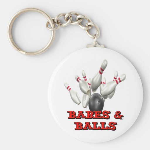 Babes & Balls Bowling Basic Round Button Keychain