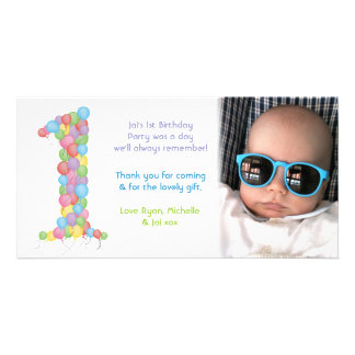 Babies 1st Birthday Thank You Photo Card