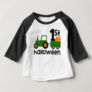 Babies 1st Halloween Green Tractor Onsie Shirt