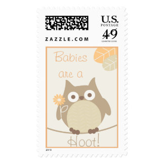 Babies Are a Hoot Owl Neutral Baby Shower Postage Stamp