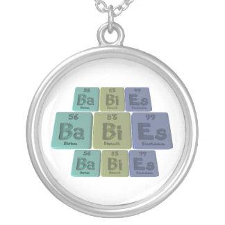 Babies-Ba-Bi-Es-Barium-Bismuth-Einsteinium Round Pendant Necklace