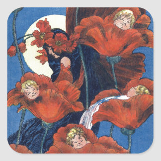 Babies Cradled in Poppies Square Sticker