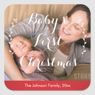 Babies First Christmas Photo Stickers Square