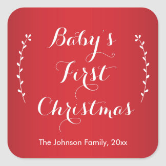 Babies First Christmas Square Red Stickers