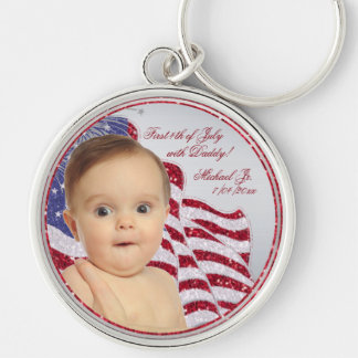 Babies First July 4th with Daddy Photo Key Chain