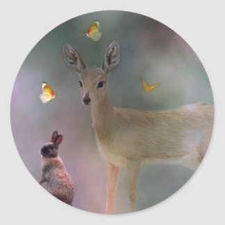 Babies forest fantasy classic round sticker
