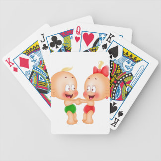 babies holding hands bicycle playing cards