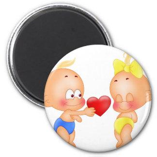 Babies in love fridge magnet